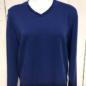 Cutter And Buck Blue V Neck Sweater Mens Size S